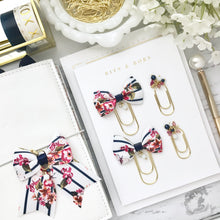 Load image into Gallery viewer, Floral Navy Stripe Ribbon Bow on Wide Gold Paperclip