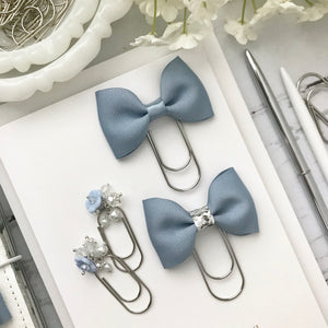 Dusty Blue Ribbon Bow on Wide Silver Paperclip