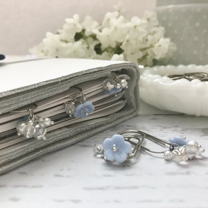 Vintage Blue Glass Flower Dangle Charm on Mini Wide SILVER Paperclip