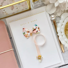 Load image into Gallery viewer, Woodland Floral Print Bow and Velvet Charm Bookmark