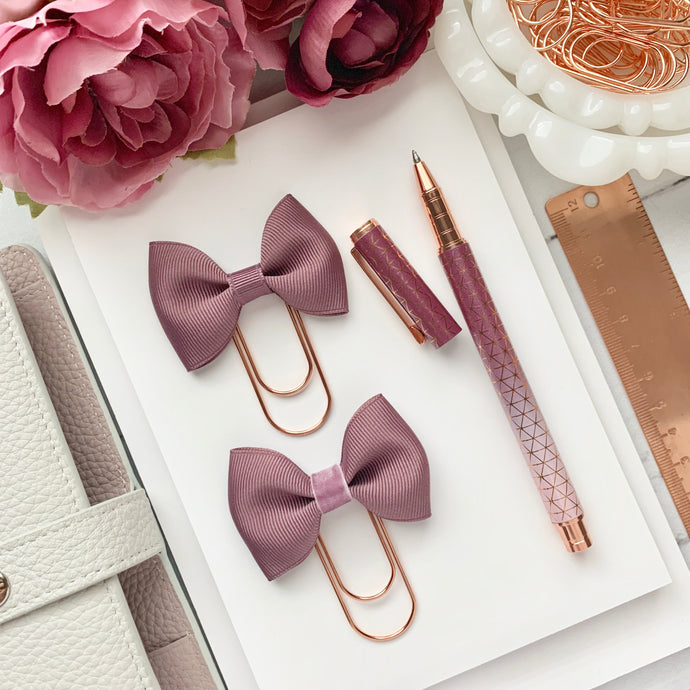 Light Purple Ribbon Bow on Wide Rose Gold Paperclip
