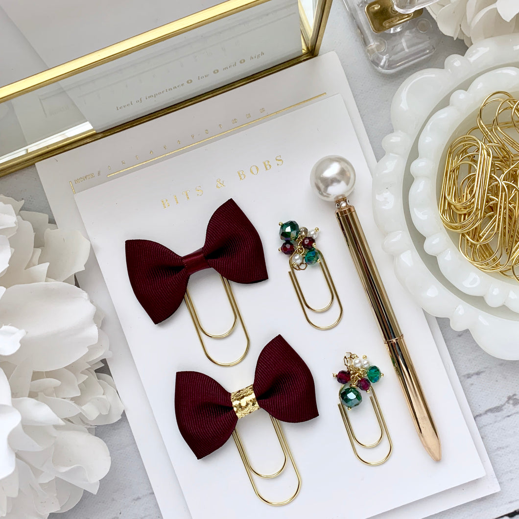 Red Plum Ribbon Bow on Wide Gold Paperclip