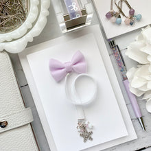 Load image into Gallery viewer, White and Light Purple Velvet Silver Snowflake Bow Charm Bookmark