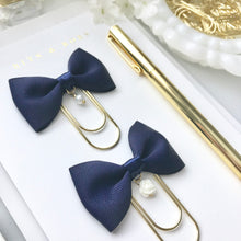 Load image into Gallery viewer, Navy Blue Ribbon Bow on Wide Gold Paperclip