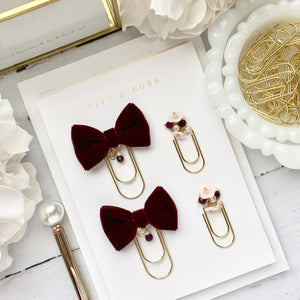 Burgundy Velvet Bow W/Charm on Wide Gold Paperclip