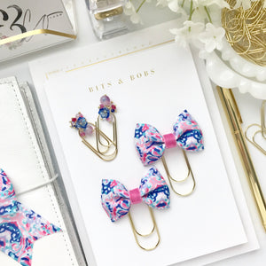 Pink and Blue Print Ribbon Bow on Wide Gold Paperclip