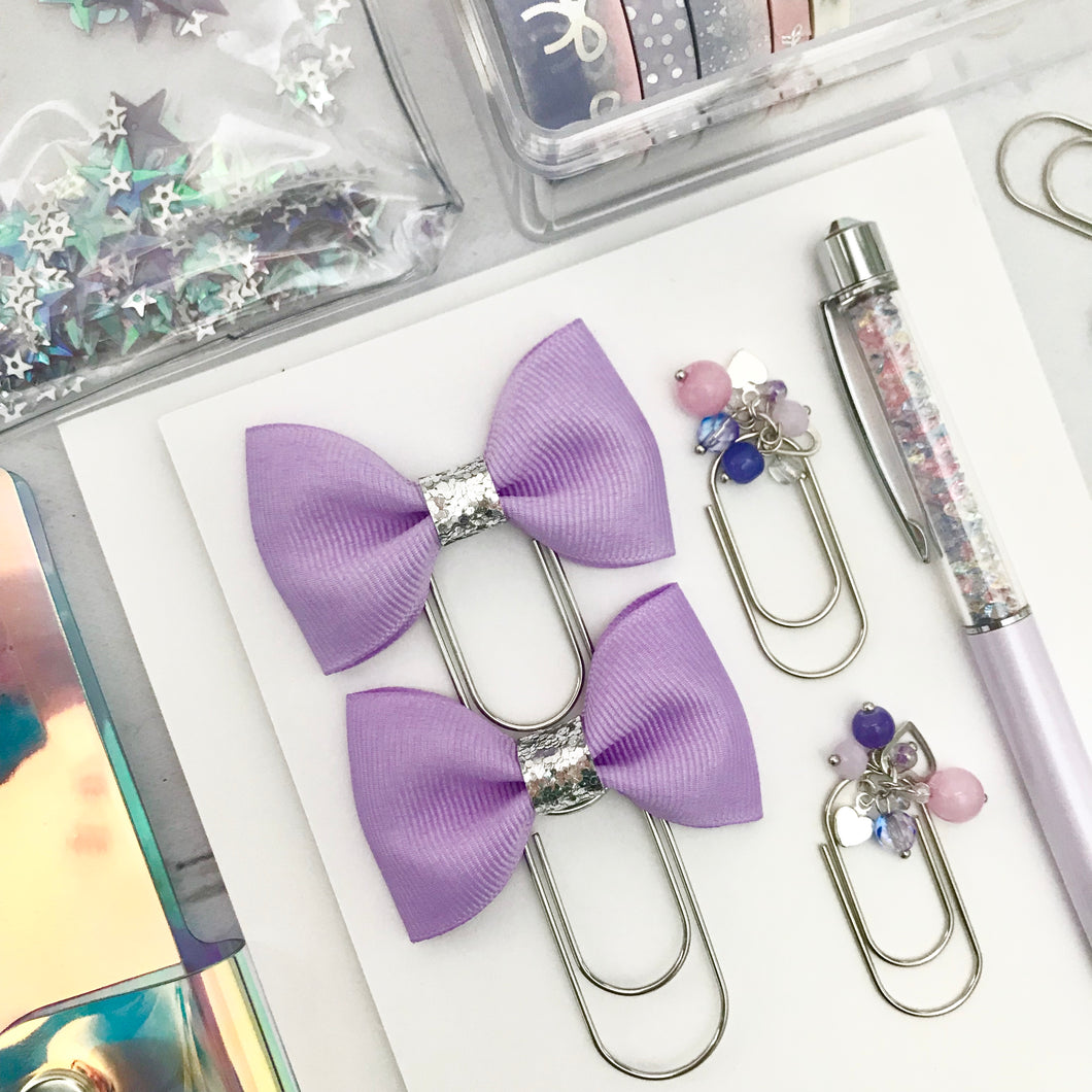 Purple Ribbon Bow on Wide Silver Paperclip