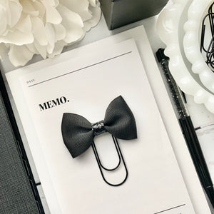 Black Ribbon and Black Glitter Bow on Wide Black Paperclip