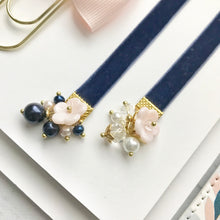 Load image into Gallery viewer, Blush and Navy Velvet Ribbon Bow Charm Bookmark