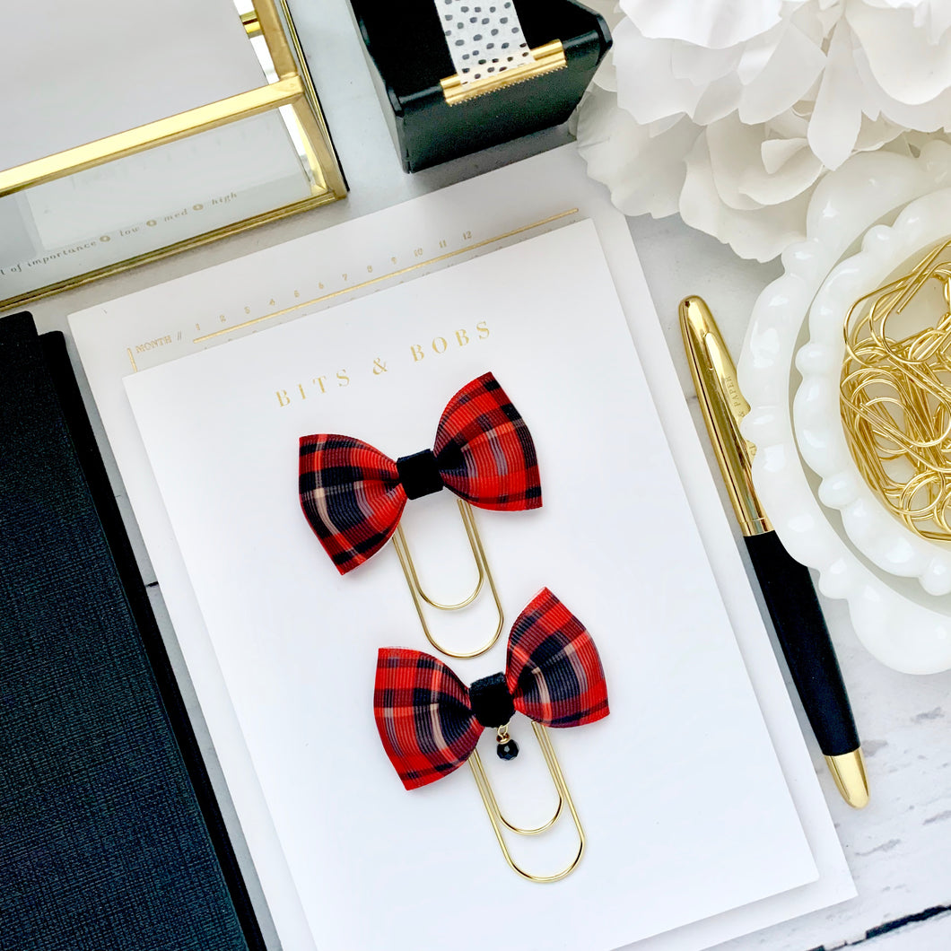 Red and Black Plaid Ribbon Bow on Wide Gold Paperclip
