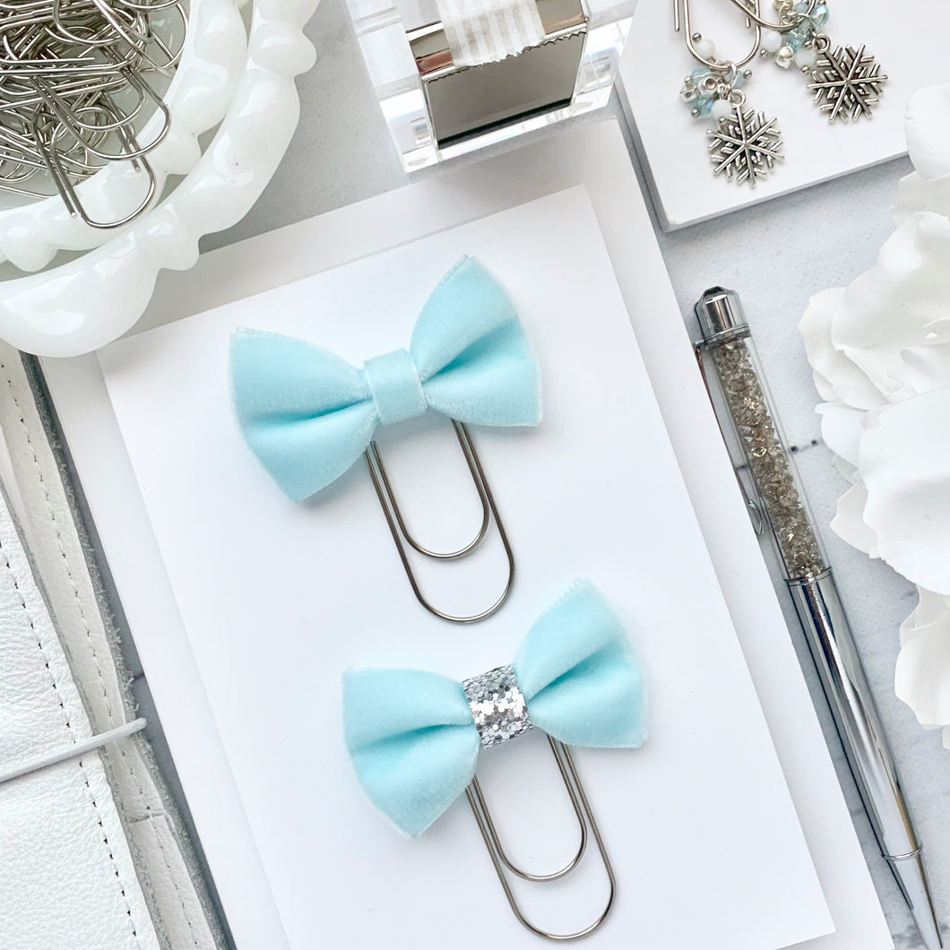 Aqua Blue Velvet Bow on Wide Silver Paperclip