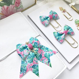 Tropical Leaves Ribbon Bow Planner Charm