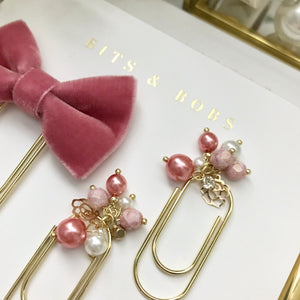 Rose Pink Pearl Dangle Clip on Mini Wide Gold Paperclip