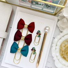 Load image into Gallery viewer, Teal Ribbon Bow on Wide Gold Paperclip