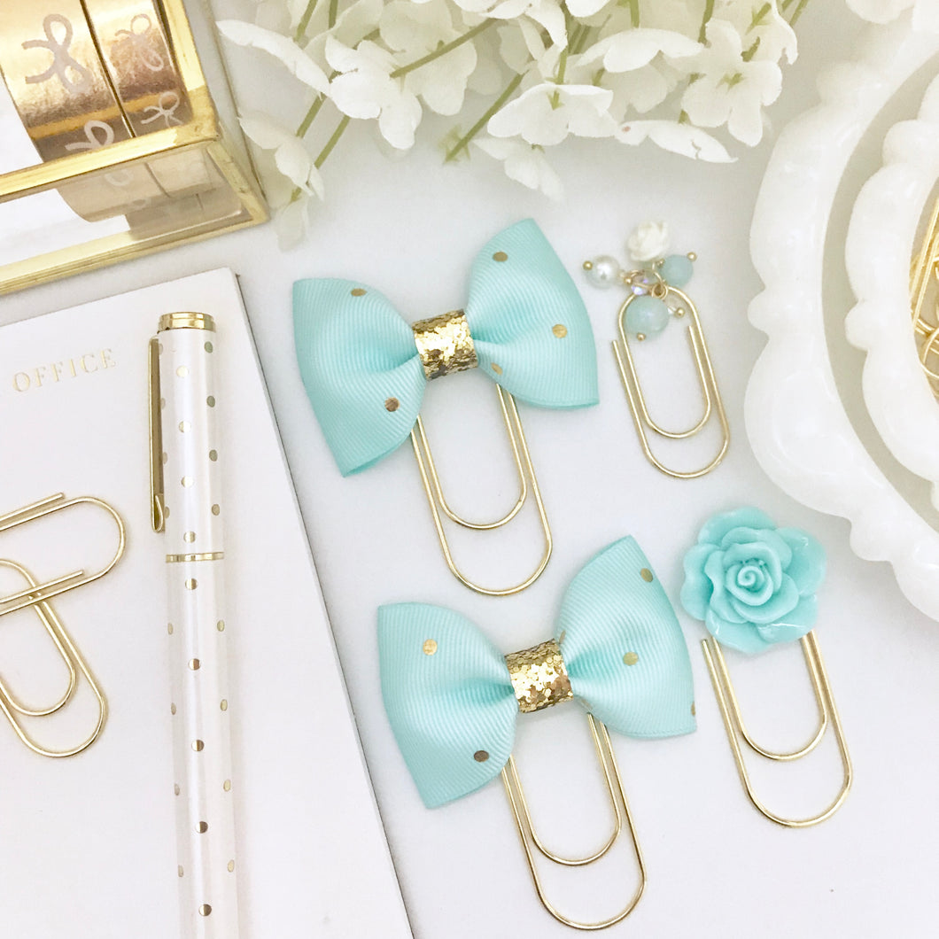 Aqua Blue Polka Dot Bow on Wide Gold Paperclip