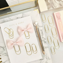Load image into Gallery viewer, Mini Blush Pink Ribbon Bow on Mini Wide Gold Paperclip
