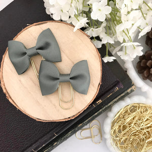 Mini Sage Green Ribbon Bow on Mini Wide Gold Paperclip