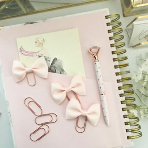 Mini Blush Ribbon Bow on Rose Gold Paperclip