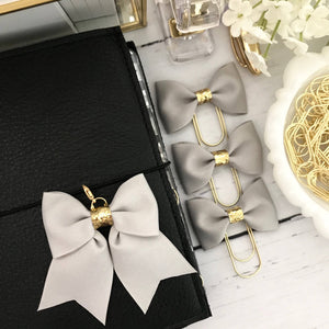 Grey and Gold Glitter Ribbon Bow Planner Charm