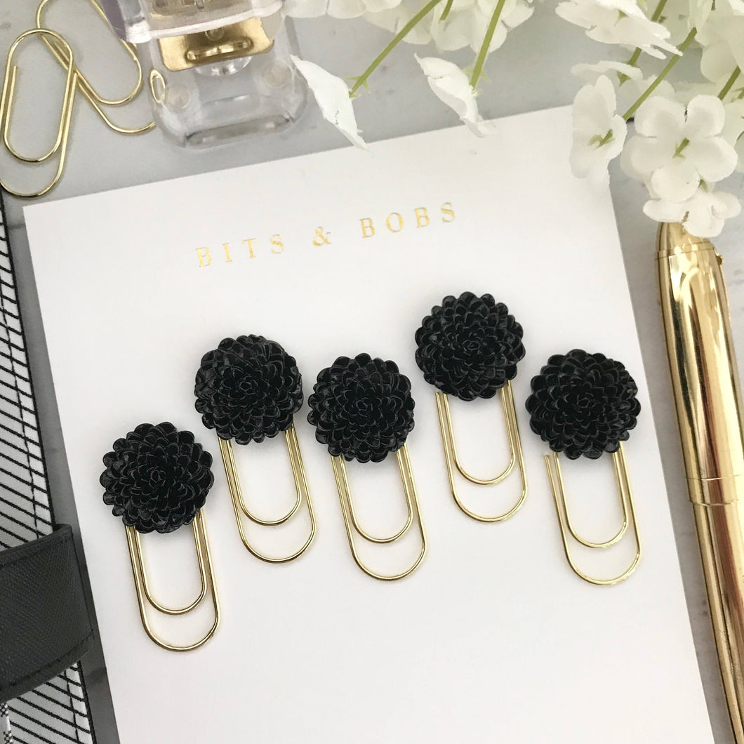 Black Mum Cabochon Flower on Mini Wide Gold Paperclip