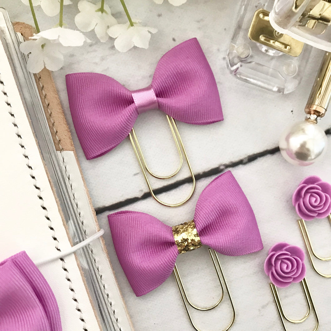 Violet Ribbon Bow on a Wide Gold Paperclip