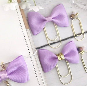 Purple Ribbon Bow on a Wide Gold Paperclip