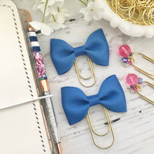 Load image into Gallery viewer, Blue Ribbon Bow on a Wide Gold Paperclip