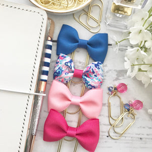 Blue Ribbon Bow on a Wide Gold Paperclip