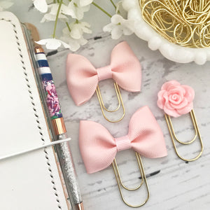 Peachy Pink Ribbon Bow on Gold Paperclip Plannerclip