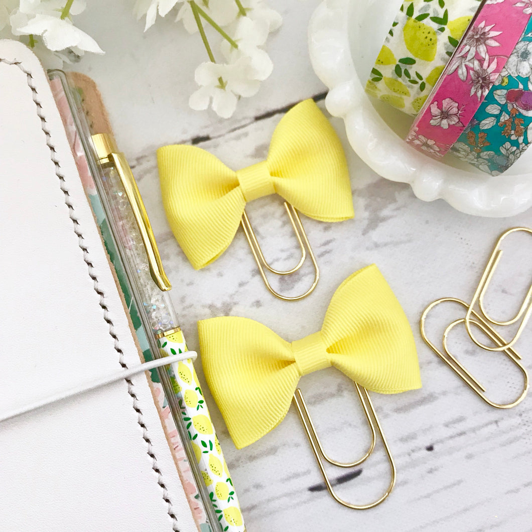 Yellow Ribbon Bow on a Wide Gold Paperclip