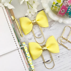 Yellow and Gold Glitter Ribbon Bow on a Wide Gold Paperclip