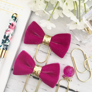 Vintage Fuchsia Velvet Ribbon Bow on a Wide Gold Paperclip
