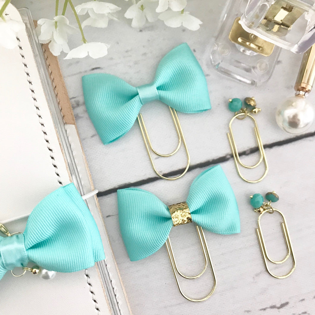 Teal Blue Ribbon Bow on a Wide Gold Paperclip Plannerclip