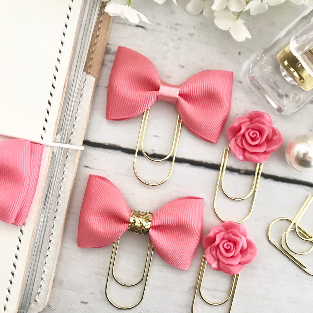 Coral Pink Ribbon Bow on a Wide Gold Paperclip