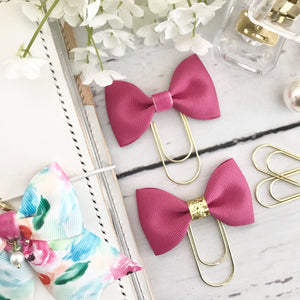 Raspberry Ribbon Bow on a Wide Gold Paperclip