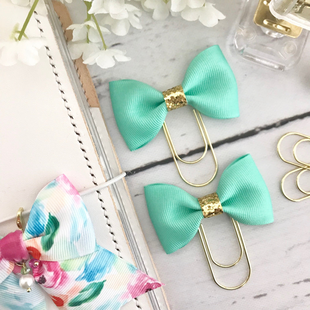 Bright Mint Ribbon Bow on a Wide Gold Paperclip
