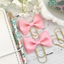 Load image into Gallery viewer, Pink Ribbon Bow on Gold Paperclip