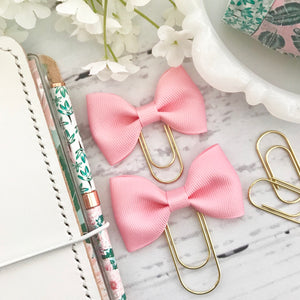 Pink Ribbon Bow on Gold Paperclip