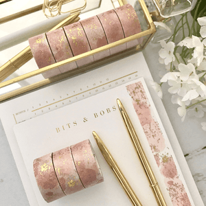 Pink Watercolor with Gold Foil Washi Tape