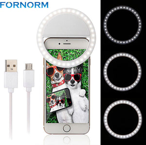 Portable USB charger Charm Eyes Smartphone LED Ring Light Night Darkness Selfie Rechargeable Led Ring Selfie Light Photo Taking