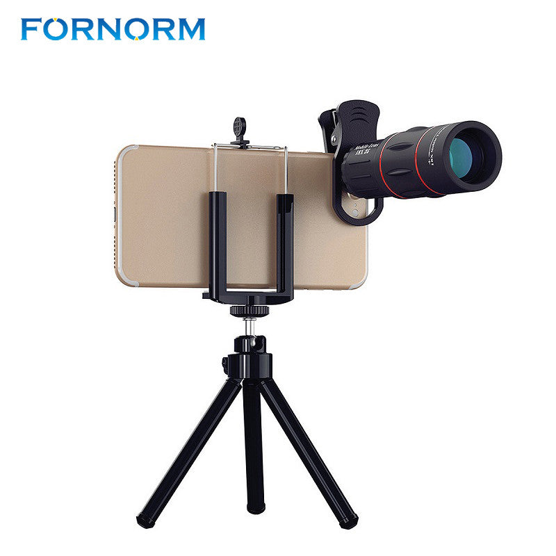 FORNORM 18X Mobile Phone Telescope Lens Tripod Optical Zoom Telescopes Phone Camera Lens For iPhone iPad Samsung HTC Tablet