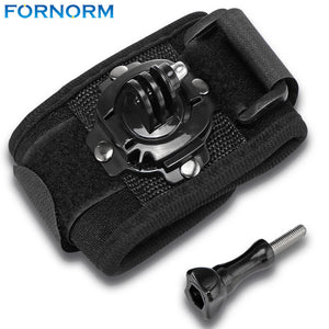Fornorm Wrist Band 360 Degree Rotation Hand Strap Belt Tripod Mount with Screw Black Color For GOPRO HERO for SJCAM