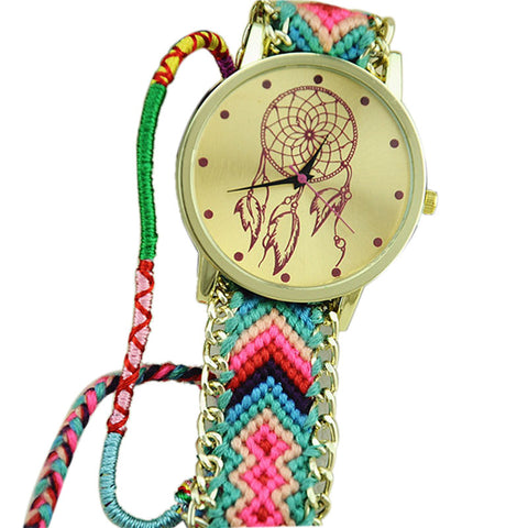 Dreamcatcher Friendship Bracelet Watches Women Braid Dress Watches GN+PK