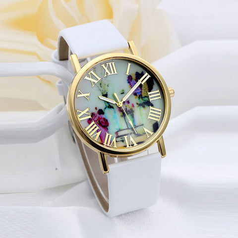 Women Fashion Vases Dial Leather Band Quartz Analog Wrist Watches