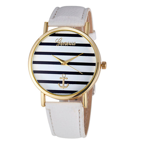 Women's Geneva Striped Anchor Analog Leather Quartz Wrist Watch Watches