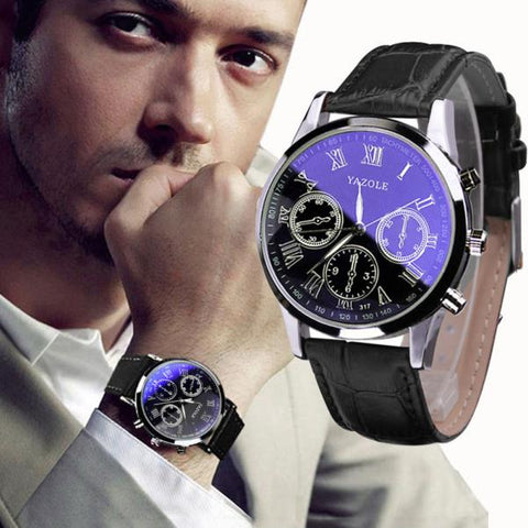Luxury Fashion Leather Mens Blue Ray Glass Quartz Analog Watches Wrist Watch