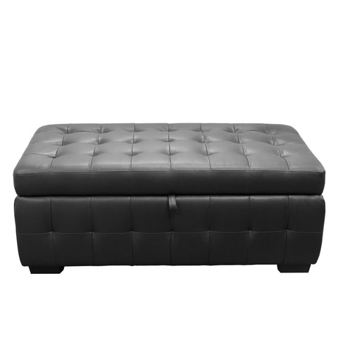 Diamond Sofa Home Furniture Zen Collection, Bonded Leather Lift Top Tufted Storage Trunk Black
