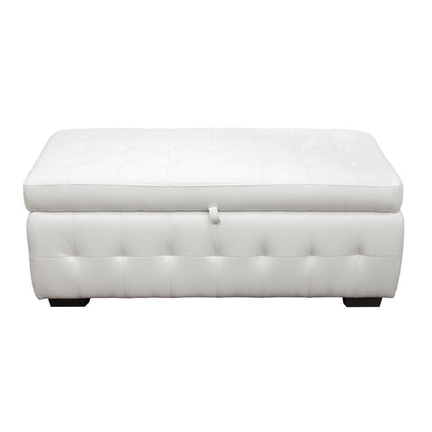 Diamond Sofa Home Furniture Zen Collection, Bonded Leather Lift Top Tufted Storage Trunk White