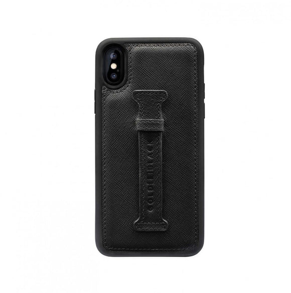 iPHONE XS FINGER-HOLDER CASE SAFFIANO BLACK