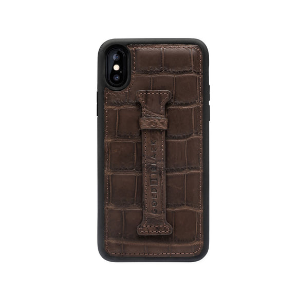 EXOTIC iPHONE XS FINGER-HOLDER CASE CROCODILE BROWN